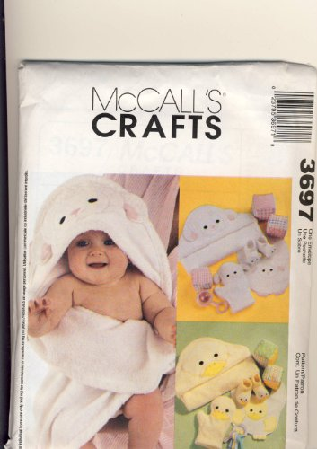 McCall Crafts Sewing Pattern 3697 - Use to Make - Baby's Necessities - Lambs and Ducks - Hooded Towels, Wash Mitts, Bibs, Booties, (Hooded Towel Patterns)
