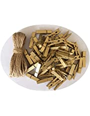 DurReus Small Wooden Clips Cute 2 Inch Clothespin Photo Paper DIY Craft Holder with Jute Twine Gold Pack 50