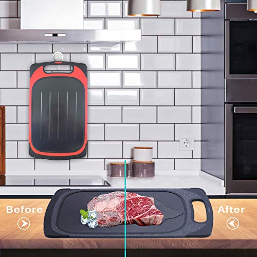2-in-1 Defrosting Tray Cutting Broad - GEMITTO Rapid Thaw Plate and Chopping Board for Frozen Food Quick Defrosting or Food Chopping Multifunctional Kitchen Supplies Red