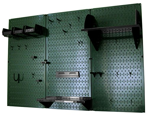 Wall Control 30-WRK-400 GNB Pegboard Organizer 4' Metal Standard Tool Storage Kit with Green Tool Board and Black Accessories by Wall Control