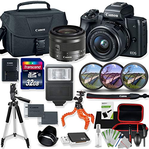 Canon EOS M50 Mirrorless Digital Camera (Black) with 15-45mm STM Lens Kit with Premium Accessory Bundle