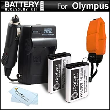 2 Pack Battery And Charger Kit Bundle For Olympus TOUGH TG-1 iHS, TG-2 iHS, TG-2iHS, TG-3, TG-4 Waterproof Digital Camera Includes 2 Replacement (1500Mah) LI-90B, LI-92B Batteries + Charger + More