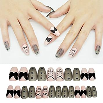 c53dd7a9e5 Amazon.in: Buy 24 PC Designer Beautiful Reusable Artificial nails with Nail  Glue.Nail Art Online at Best Price in India | Amazon Beauty Store