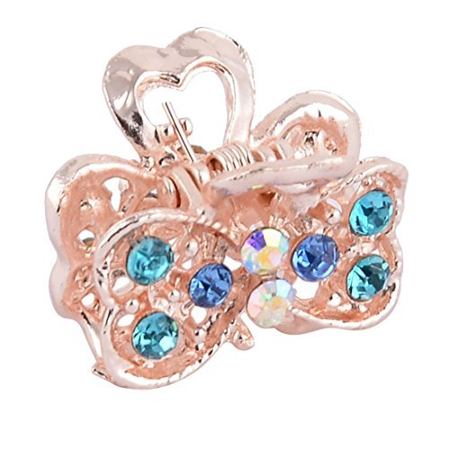 DealMux Metal Double Heart Shape Lady Faux Rhinestone Inlaid Hair Claw Jaw Clip Blue