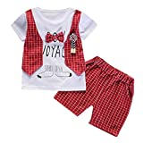 Toddler Boys Cotton Gentleman Bow Printed Pullover Jacket T-Shirt with Plaid Shorts Clothes Set (12-18M, Red)