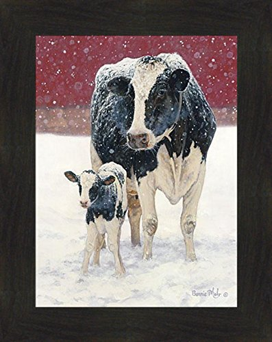 First Christmas by Bonnie Mohr 16x20 Farm Animals Cows Holstein Country Art Print Wall Décor Framed Picture (2