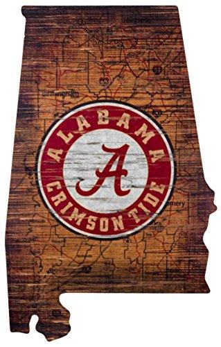 "NCAA Alabama Crimson Tide 15"" x 24"" State Cutout with Logo Wood Sign"