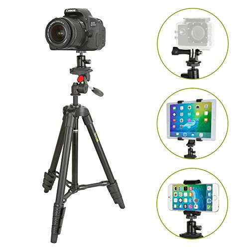 Tablet Stand, iKross 47-inch Digital Camera Tripod with 4 Adapter For Smartphone ,Gopro , Tablet , DSLR Camera and Carrying Bag