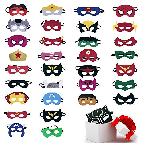 TEEHOME Superhero Masks Party Favors for Kid (33 Packs) Felt and Elastic - Superheroes Birthday Party Masks with 33 Different Types for Children -