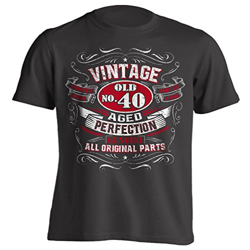 4Ink Vintage 40th Birthday Gift Shirt For Men Black XX-Large (Birthday Gift For Gents)