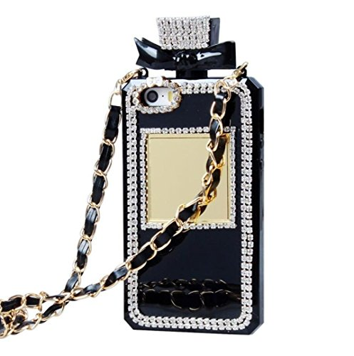 Iphone 7 Case,iPhone 8 Case,Fusicase Creative Perfume Bottle Design With 3D Handmade Shiny Sparkle Diamond Chain Bumper Soft TPU Handbag Case Fitted For Iphone 7 - Case Chain