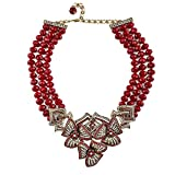 Heidi Daus 3 row adorned beaded crystal W. Floral Senter Station Collar Necklace New With Tag