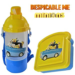 Despicable Me Minions Kids 2 Piece Reusable Lunch Container Kit - Canteen Water Bottle with Snack Compartment and Sandwich Box