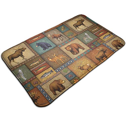 - OKAYDECOR Luxury Rugs - Kids Play Mat for Bed Game Rooms Reading Nook, Super Soft Living Room Bedroom Classroom Carpet, Rustic Wildlife Bear Deer Moose Wolf Home Decor Mat