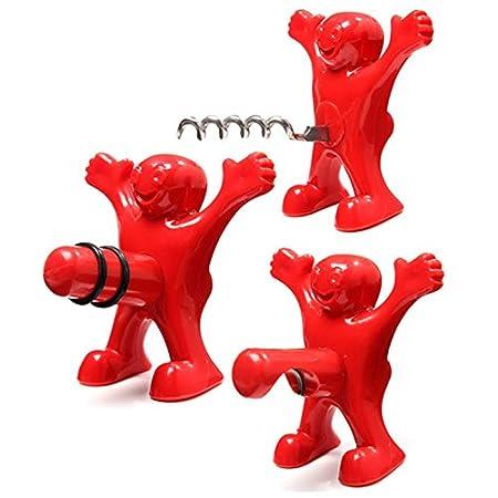 Happy Man Flaschenö ffner, Weinflaschenverschluss, Korkenzieher, witziges Geschenk/Scherzartikel, 3-in-1, 3-teiliges Set, metall, rot, 3 pack set Doxa