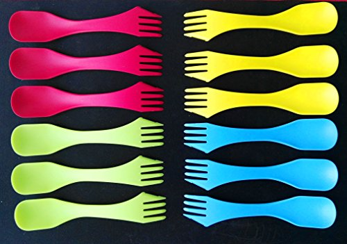 AWESOME Spork To Go , 12 Sporks + Carry Bag. Bpa-free Tritan Spoon, Fork & Knife Combo Utensil. Colorful Flatware Set For Camping, Mess Kits, Work, & Outdoor Activities For Sale