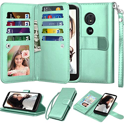 Njjex for Moto E5 Plus Wallet Case, for Moto E5 Supra Case, PU Leather [9 Card Slots] ID Credit Folio Flip Cover [Detachable][Kickstand] Magnetic Phone Case & Wrist Strap for Motorola E5 Plus [Mint]
