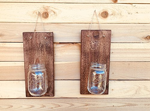 VOSSIK Handcrafted Rustic Mason Jar Wall Sconces - Wall Sconces Set of Two - FREE SHIPPING (Farmhouse Decor Rustic Wall Sconce Candle Holders For - Country Of Shipping Usps Out