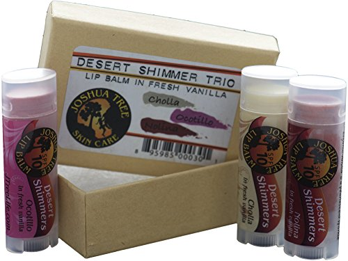 Joshua Tree Organic Lip Balm - Desert Shimmer Trio Gift Set (Cholla, Ocotillo and (Salve Trio)