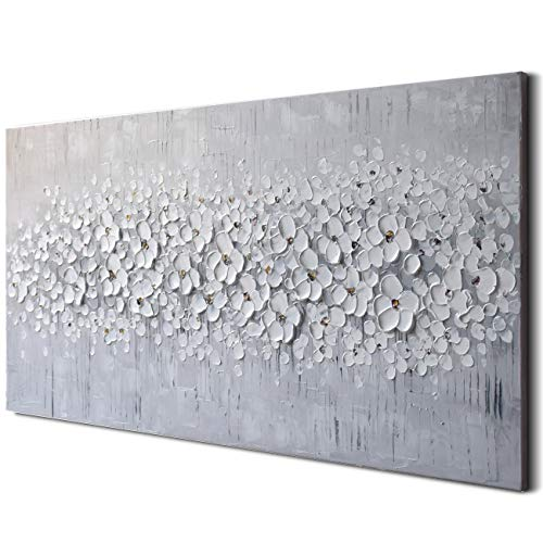 3D Pure Gray White Flower Oil Painting 100% Hand Painted Framed Canvas Wall Art Abstract Modern Contemporary Decoration Simple Life Beautiful Flowers Blossom Floral Picture Ready to Hang (20x40 -