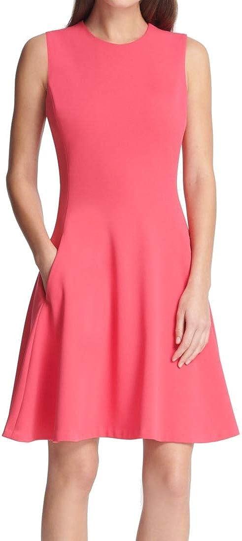DKNY Women's Dress Vivid A-Line Fit&Flare Crew Neck Pink 10 516WyxH6BGL