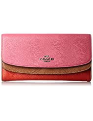 COACH Double Flap Silm Wallet in Colorblock Leather Wallet in Dahlia/Silver/Multi