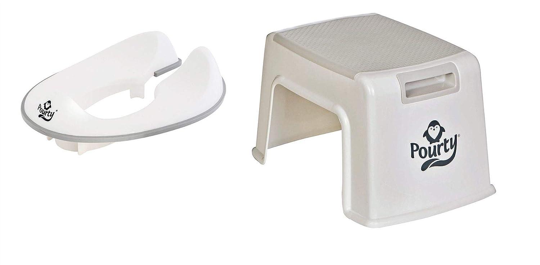Pourty トイレトレーニングコンボ グレー - フレキシブルフィット 便座 & アップステップスツール   B07JL2QBM8
