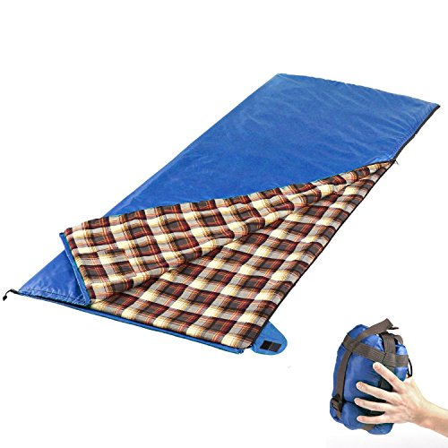 Camp Solutions Lightweight XL Flannel Lined Sleeping Bag Summer Portable, for Traveling, Camping, Hiking, Office Nap (Blue)