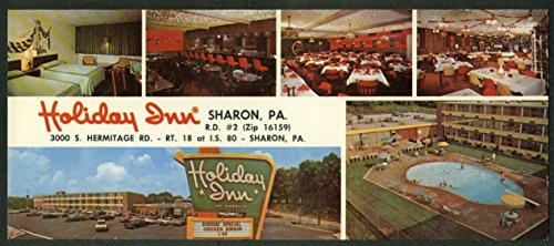 Holiday Inn Sharon PA 6-view long postcard 1960s from The Jumping Frog