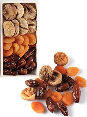 KURME Sun Dried Fruit Gift Box Turkish Apricots, Whole Figs, and Dates | 10 ounces | No Sugar Added | 100% Natural | Healthy Gourmet Snack