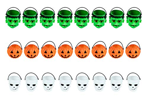 Halloween Mini Plastic Candy Buckets - 24-Pack Trick-or-Treat Candy Holders for Halloween Decoration, Kids Party Supplies, Frankenstein, Pumpkin, and Skull, 3 Assorted Designs