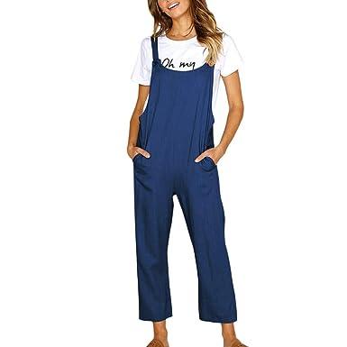 MXJEEIO💖Verano 2019 Mujer Chicas Peto Vaquero Casual Flojo Holgado Bolsillo Mono Traje de Moda Pantalones Monos Largo Elegante Moda Bolsillos Tiras ...