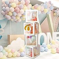 ENUOSUMA 4-Piece Love Shower Decorations Balloon Clear Box