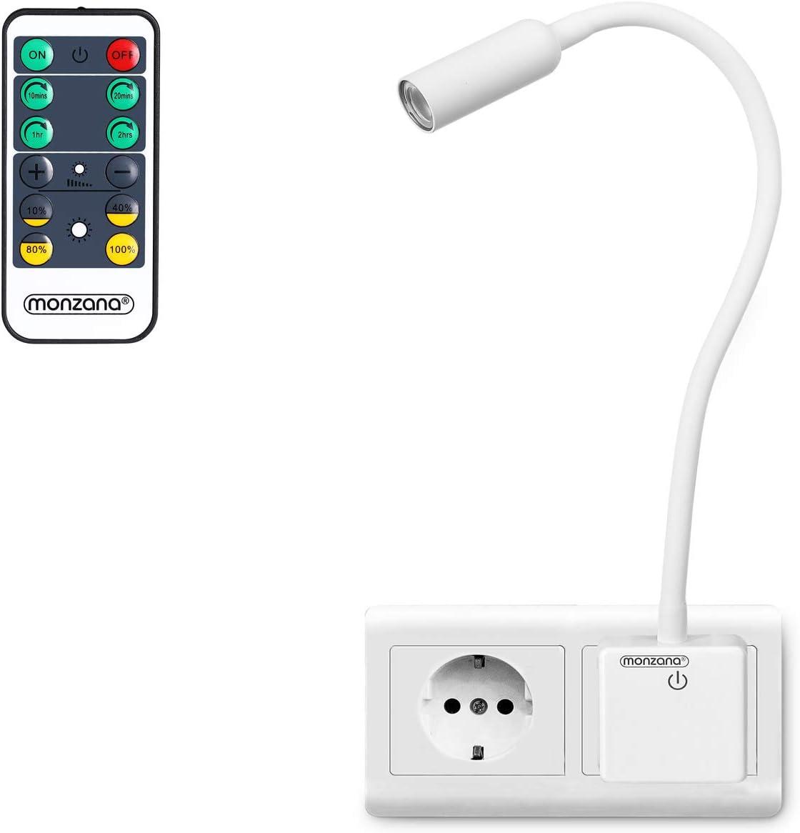 Monzana LED Steckerlampe 48cm Steckdosenlampe Steckerleuchte 5000K Touchschalter dimmbar Schreibtischlampe Fernbedienung