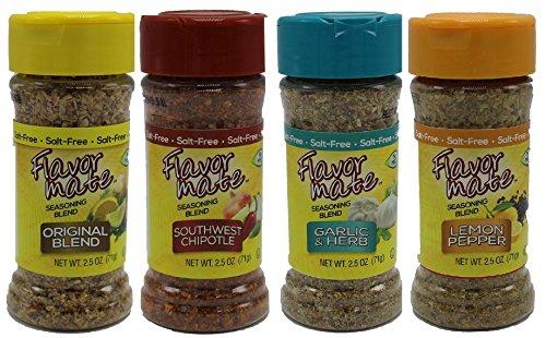 Flavor Mate No Salt Seasoning Blend - Variety Pack - Original,Garlic and Herb,Southwest Chipotle,Lemon & Pepper - 2.5 oz-Kosher