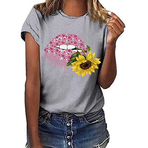 Double Helix Candle - Sunflower T-Shirt Women -【MOHOLL】 Size Print Short Sleeved T-Shirt Blouse Tops Casual Short Sleeve Shirt Tops Gray