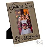 picture frame sisters - Kate Posh - SISTERS Engraved Leather Picture Frame - Maid of Honor Gifts, Matron of Honor Gifts, Bridesmaid Wedding Gifts, Birthday Gifts, Christmas Gifts, Little Sister, Big Sister (4x6-Vertical)