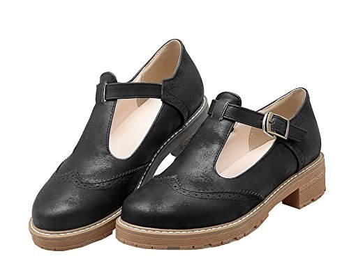 Black Heels VogueZone009 Low Pumps Round Shoes Solid Buckle Closed Toe PU Women's Nubuck 7qp7B0