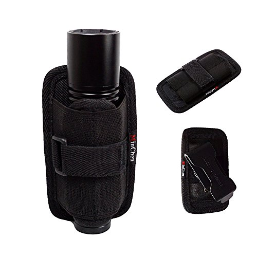 MinChen Holster for Flashlights, Tactical Flashlight Pouch Holster Duty Belt Carry Case Holder with 360 Rotatable Clip Short Type