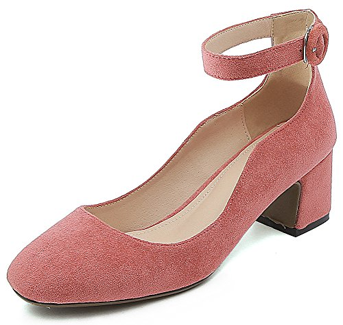 IDIFU Women's Unique Faux Suede Chunky Mid Heeled Square Toe Ankle Buckle Bridal Pumps (Peach, 5.5 B(M) (Chunky Peach)