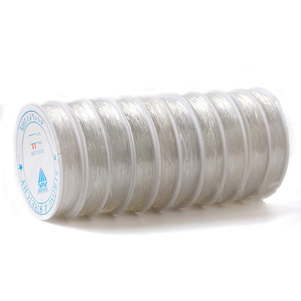 Hilo de 1 mm de Grosor Aofocy 1 x Rollo de cord/ón el/ástico Abalorios el/ástico cistal transl/úcido//cord/ón