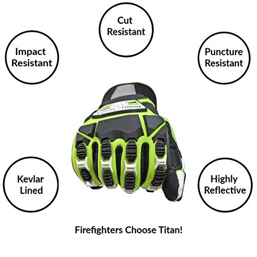 Cut Resistant Gloves Bundle - 1 - Firefighter Extrication Gloves (Large) | 1 - Glove Strap (lime Green) | 1 - Firefighter Journal (Track training hours, Run activities, work, ect.) by Generic (Image #1)