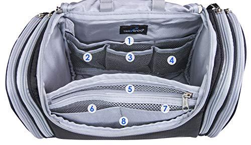 "TRAVANDO XXL Toiletry Bag for Women ""MAXI"" with Hanging Hook - Large Wash Bag - Many Pockets - Travel Set, Travel Toiletry Kit Cosmetics Makeup Big Toilet Organizer Suitcase Luggage (Black)"