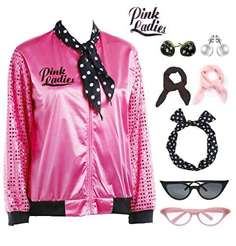 1950s Sequins Pink Ladies Jacket Adult T Bird
