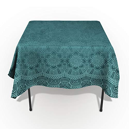 Seven Sunshine Cotton Linen Table Cover Spillproof Tablecloth Aqua Teal Indian Mandala Ethnic Floral Turquoise Decorative Table Cloth for Kitchen Dining Banquet Party/Parties Tabletop Picnic ()