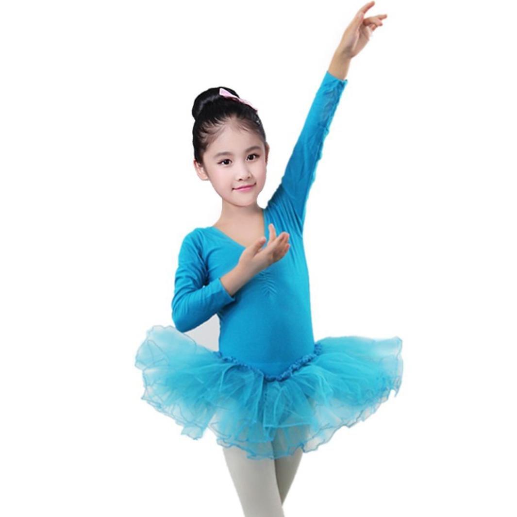 HLHN Baumwolle Mädchen Ballettkleid Kinder Ballett Gaze Trikot Ballettanzug mit Tütü Röckchen Kleid