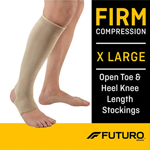 Futuro Therapeutic Knee Length Stocking for Men/Women, Firm Compression, Open Toe/Heel, X-Large, Beige, 1 Count