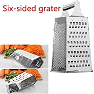 Box Graters for Kitchen | 6 Sided | Cheese Grater for Kitchen Stainless Steel | Easy to Use and Non-Slip Base (A)