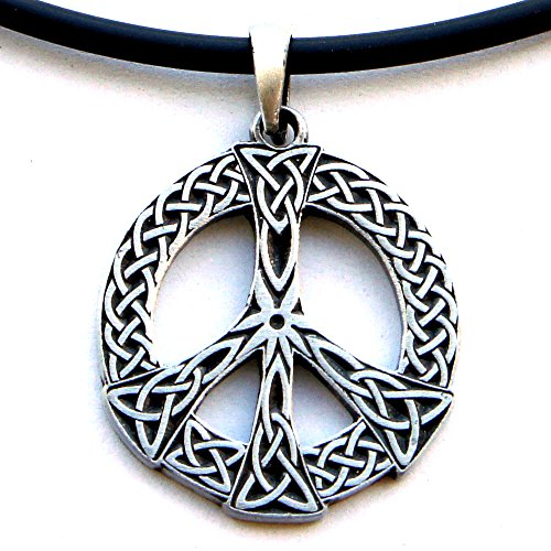 Gothic Celtic Knot Peace Sign Pagan Wicca Pewter Pendant W PVC Necklace
