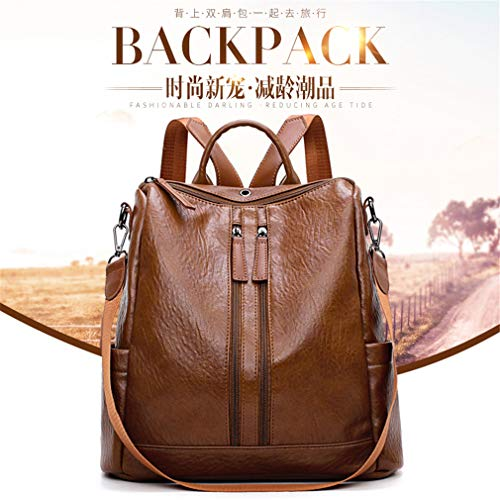 Backpack Daypack Brown Pu Upgrade Female Fashion Backpacks Bag Women Shoulder For Leather EXnBq